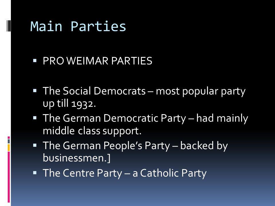 Main Parties  PRO WEIMAR PARTIES  The Social Democrats – most popular party up till 1932.