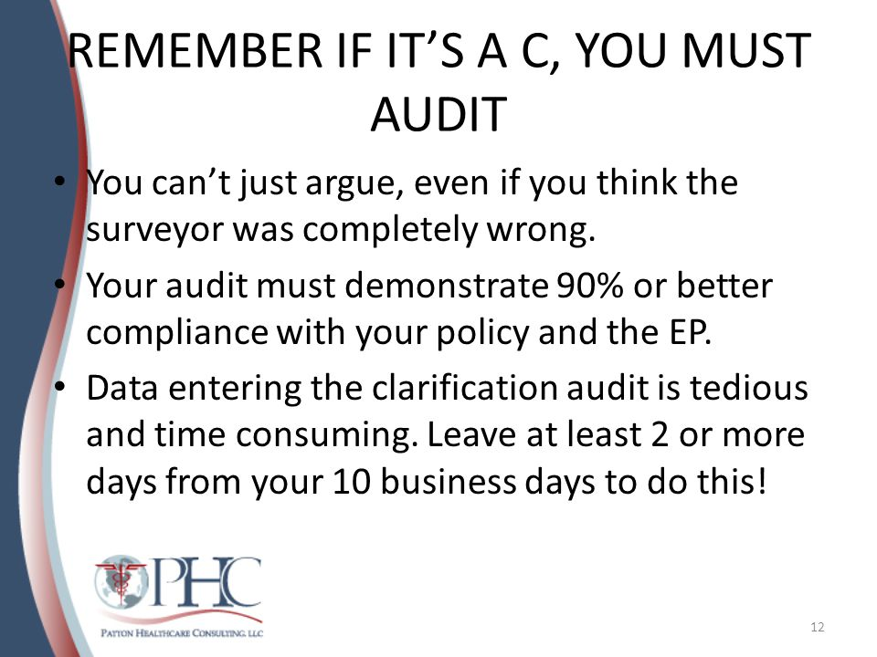 REMEMBER IF IT'S A C, YOU MUST AUDIT You can't just argue, even if you think the surveyor was completely wrong.