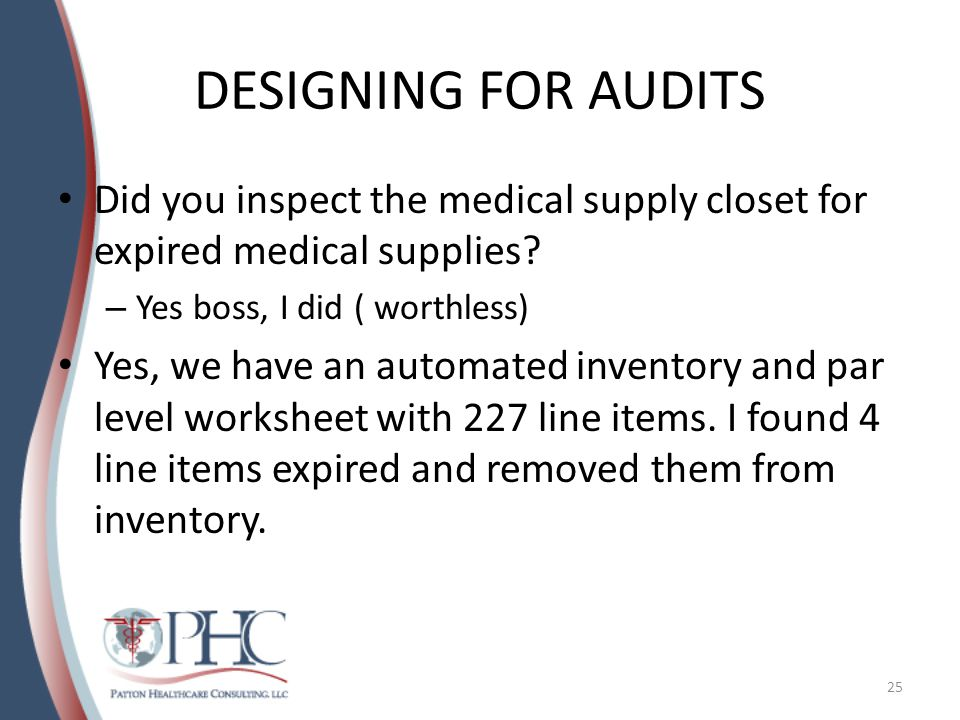 DESIGNING FOR AUDITS Did you inspect the medical supply closet for expired medical supplies.