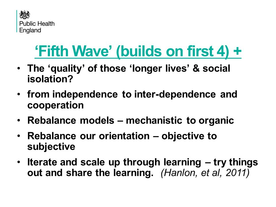 'Fifth Wave' (builds on first 4) + The 'quality' of those 'longer lives' & social isolation? from independence to inter-dependence and cooperation Reb