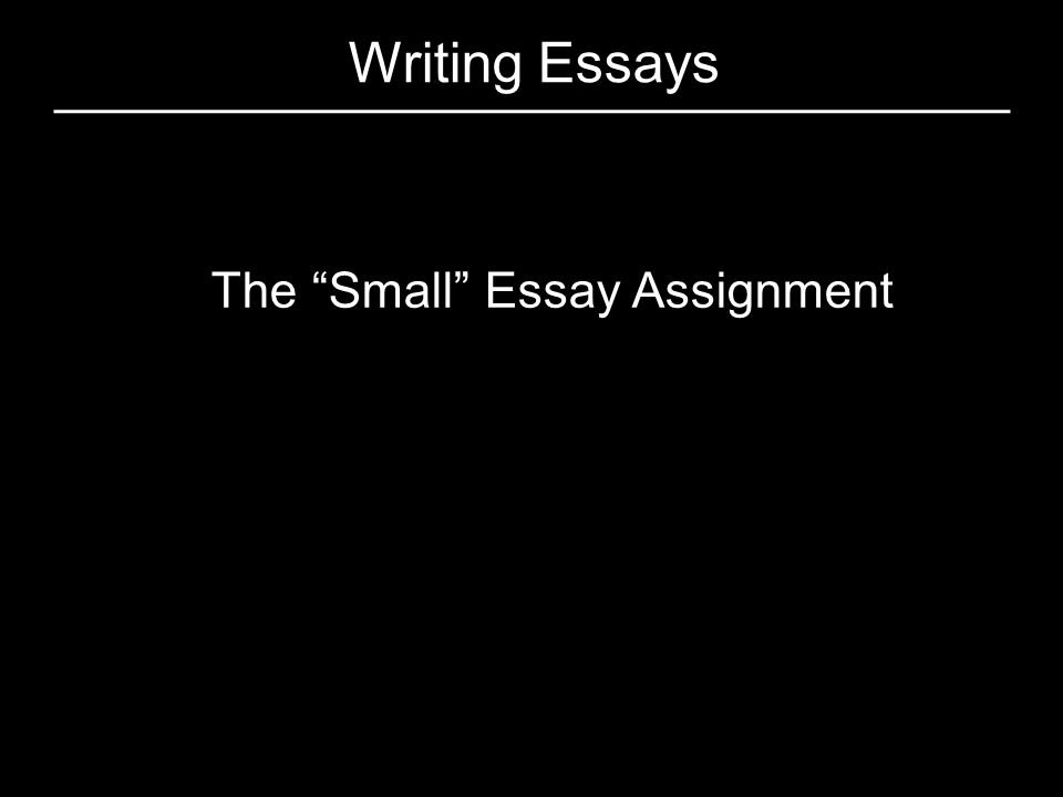 """Writing Essays The """"Small"""" Essay Assignment"""