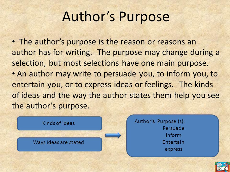 Author's Purpose The author's purpose is the reason or reasons an author has for writing.