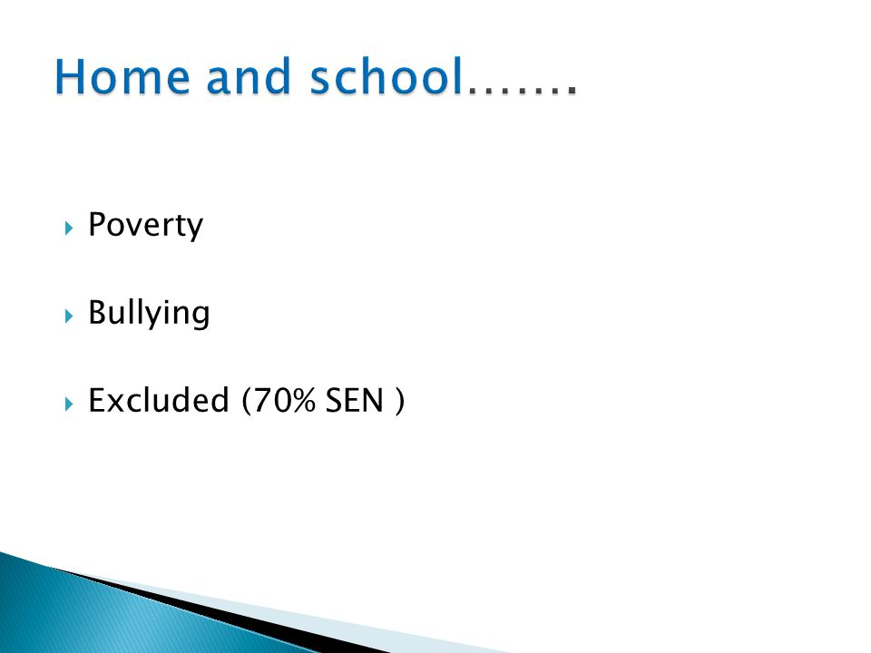  Poverty  Bullying  Excluded (70% SEN )