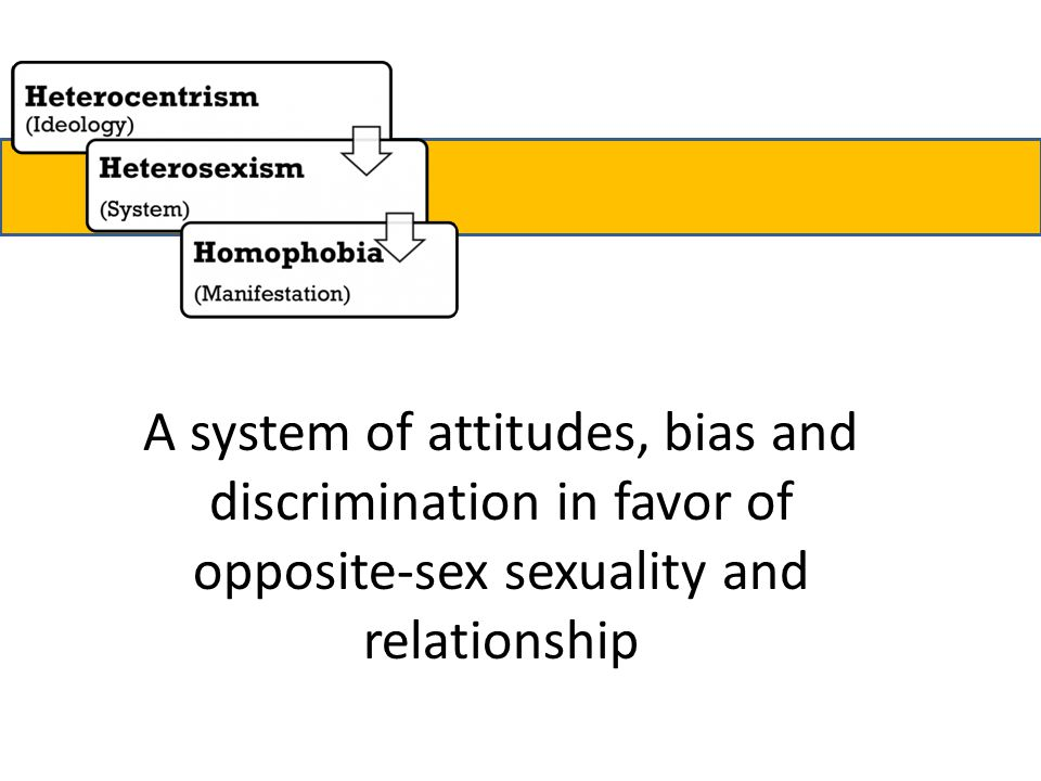 A system of attitudes, bias and discrimination in favor of opposite-sex sexuality and relationship