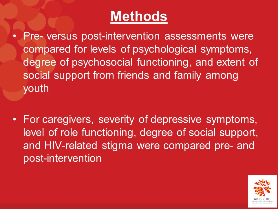 Methods Pre- versus post-intervention assessments were compared for levels of psychological symptoms, degree of psychosocial functioning, and extent of social support from friends and family among youth For caregivers, severity of depressive symptoms, level of role functioning, degree of social support, and HIV-related stigma were compared pre- and post-intervention