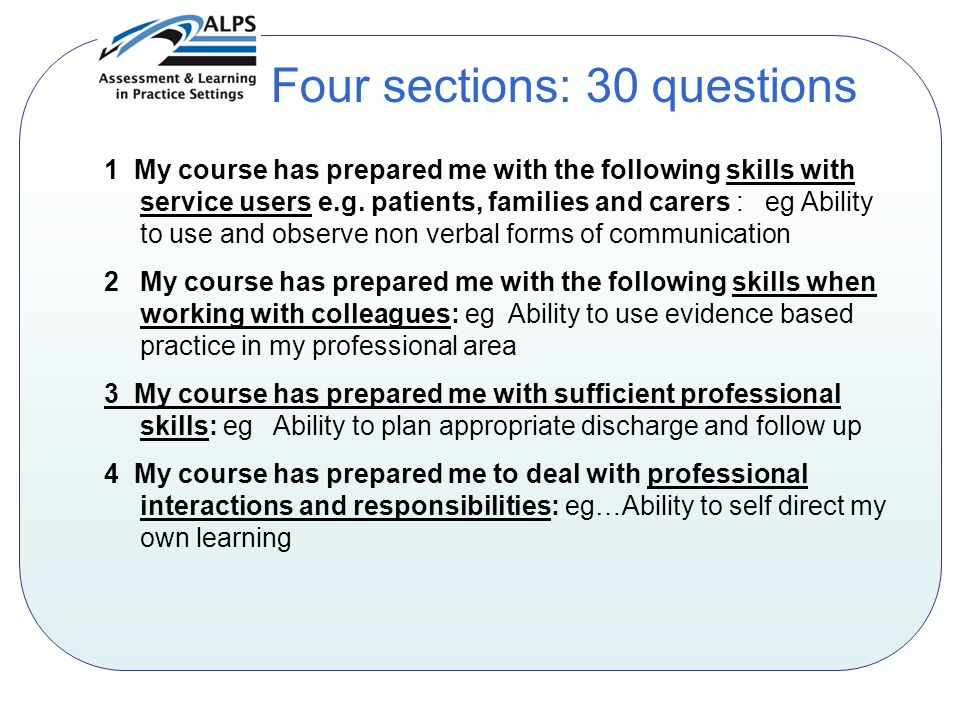 1 My course has prepared me with the following skills with service users e.g.