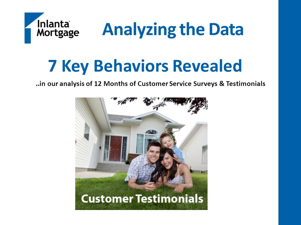 Analyzing the Data 7 Key Behaviors Revealed..in our analysis of 12 Months of Customer Service Surveys & Testimonials