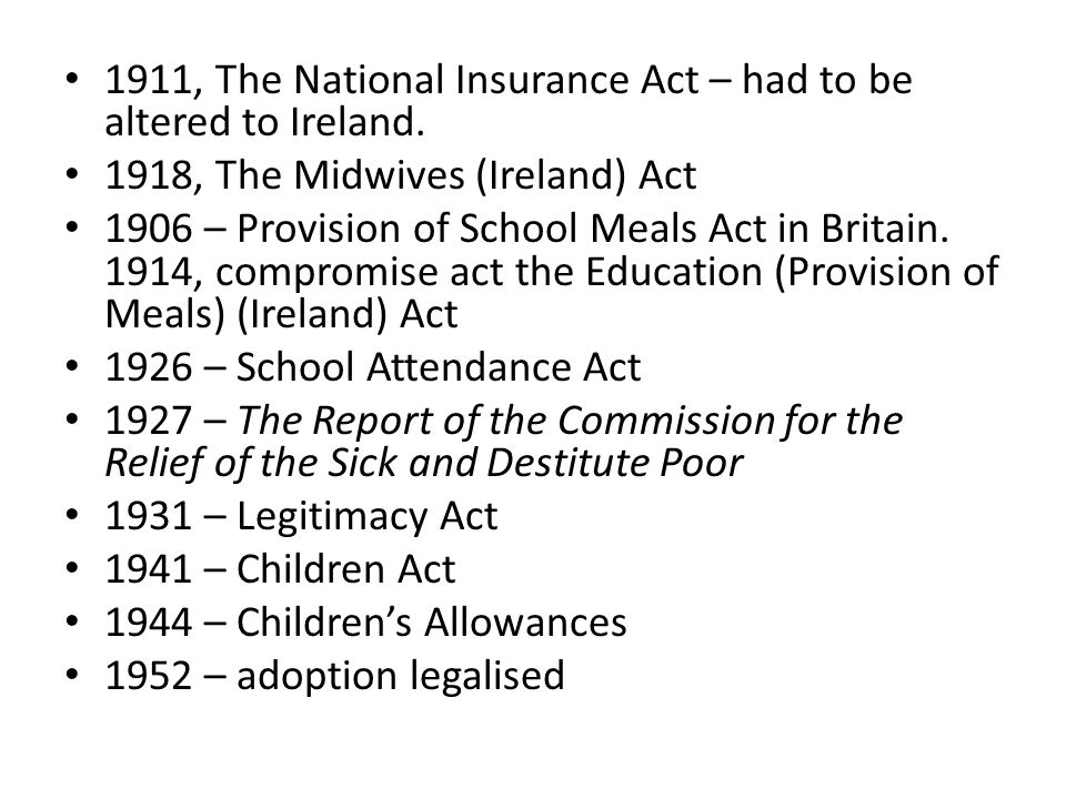 1911, The National Insurance Act – had to be altered to Ireland.
