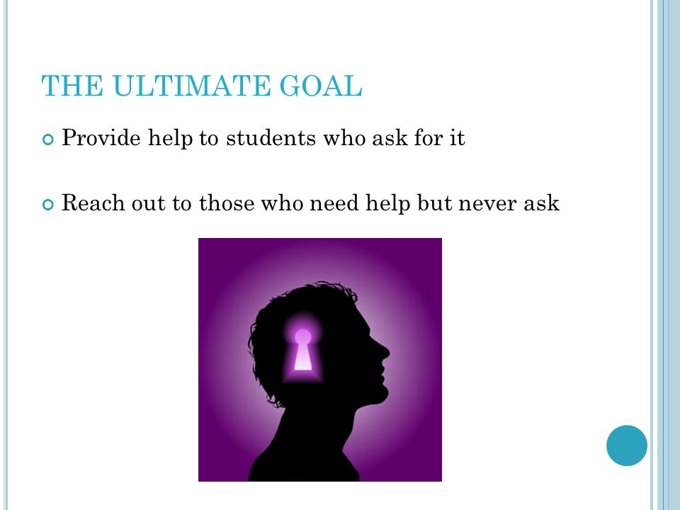 THE ULTIMATE GOAL Provide help to students who ask for it Reach out to those who need help but never ask