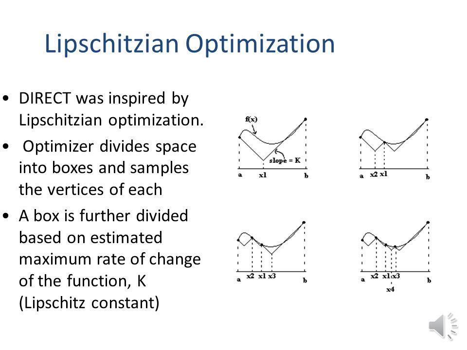 Lipschitzian Optimization DIRECT was inspired by Lipschitzian optimization.