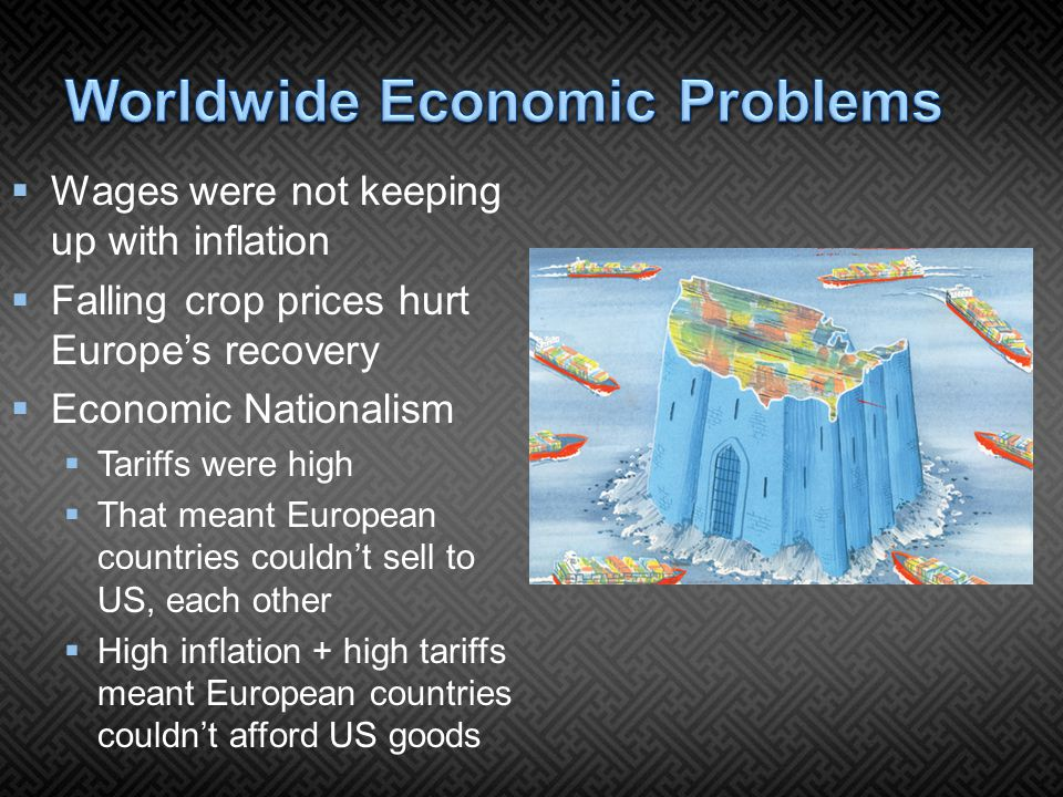  Wages were not keeping up with inflation  Falling crop prices hurt Europe's recovery  Economic Nationalism  Tariffs were high  That meant European countries couldn't sell to US, each other  High inflation + high tariffs meant European countries couldn't afford US goods