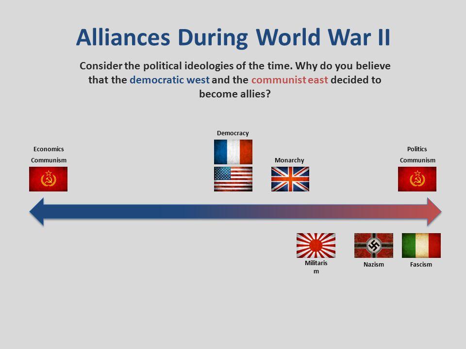 Alliances During World War II Militaris m FascismNazism Communism EconomicsPolitics Democracy Monarchy Consider the political ideologies of the time.