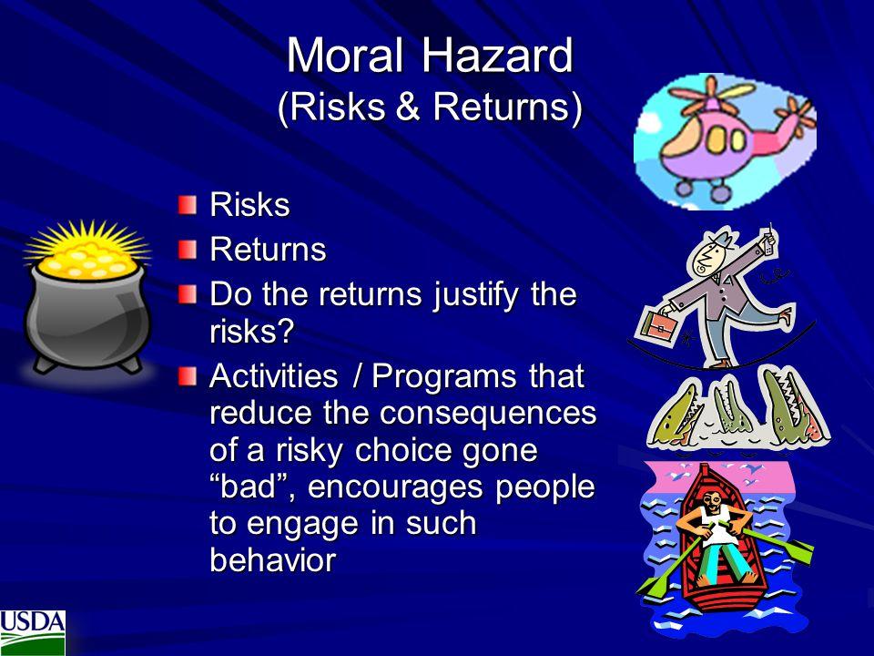 Moral Hazard (Risks & Returns) RisksReturns Do the returns justify the risks.