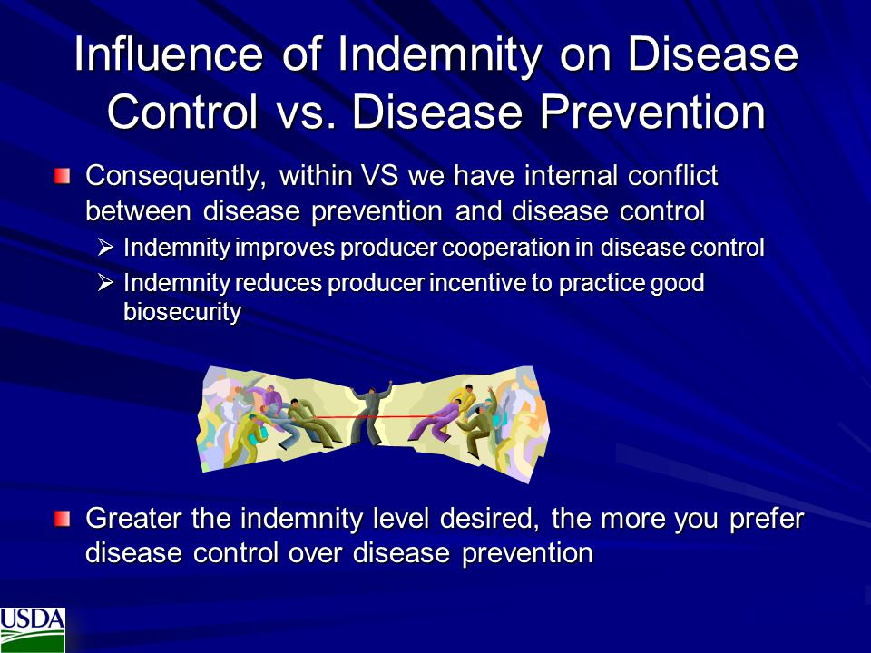 Influence of Indemnity on Disease Control vs.