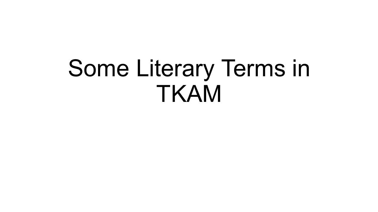 Some Literary Terms in TKAM
