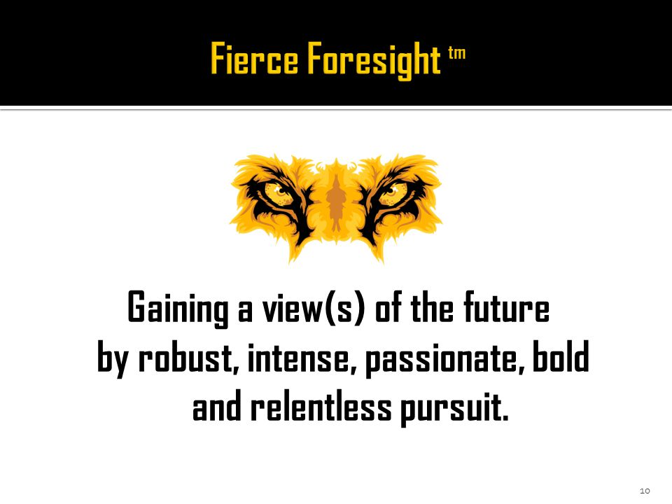Gaining a view(s) of the future by robust, intense, passionate, bold and relentless pursuit. 10