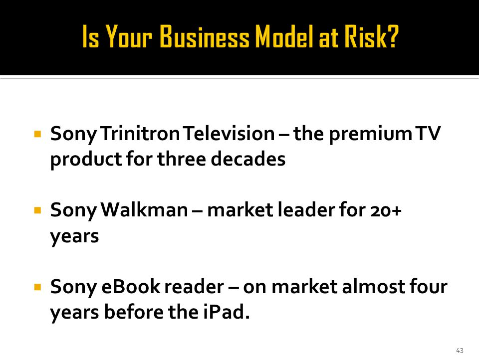  Sony Trinitron Television – the premium TV product for three decades  Sony Walkman – market leader for 20+ years  Sony eBook reader – on market almost four years before the iPad.