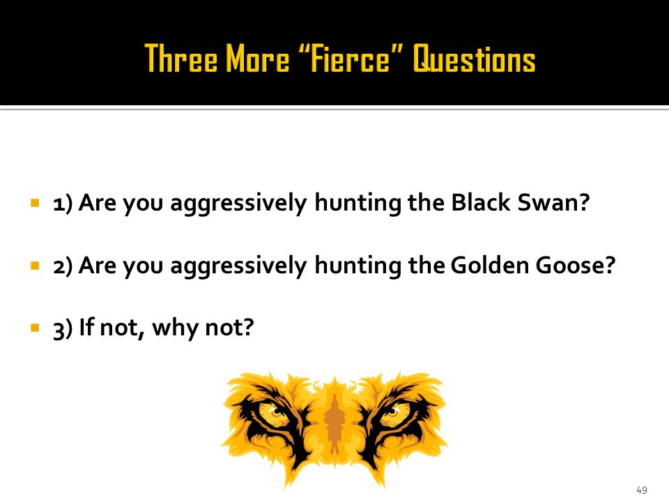 49  1) Are you aggressively hunting the Black Swan.