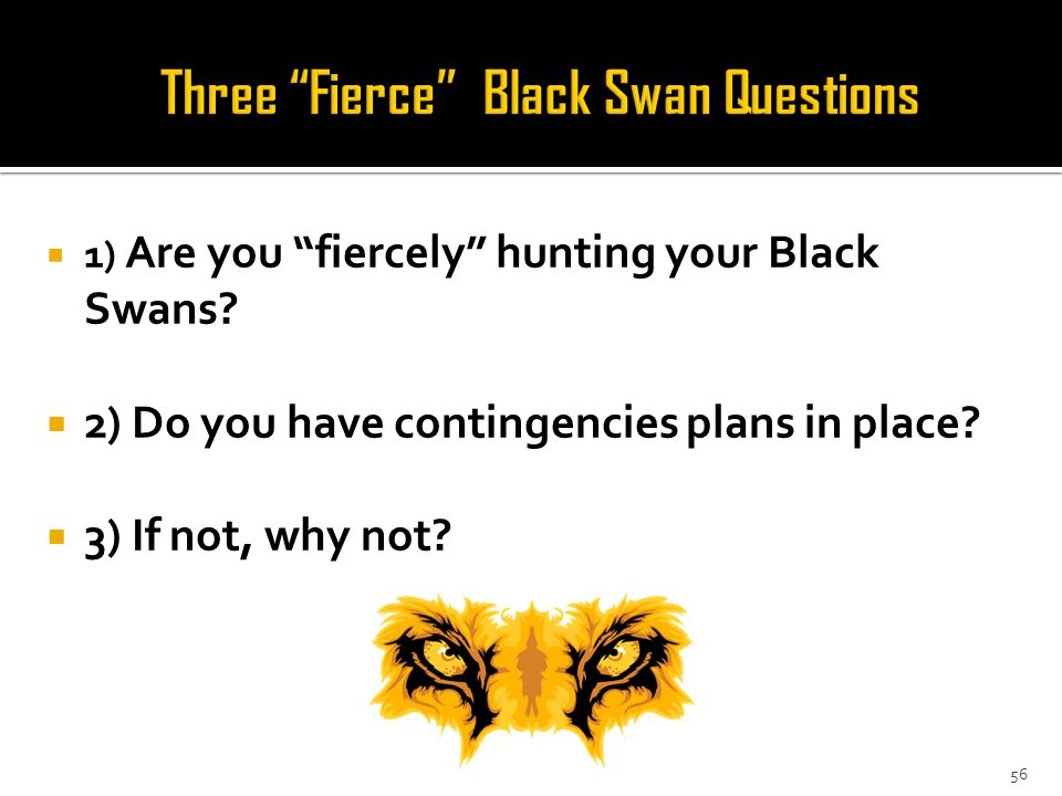 56  1) Are you fiercely hunting your Black Swans.