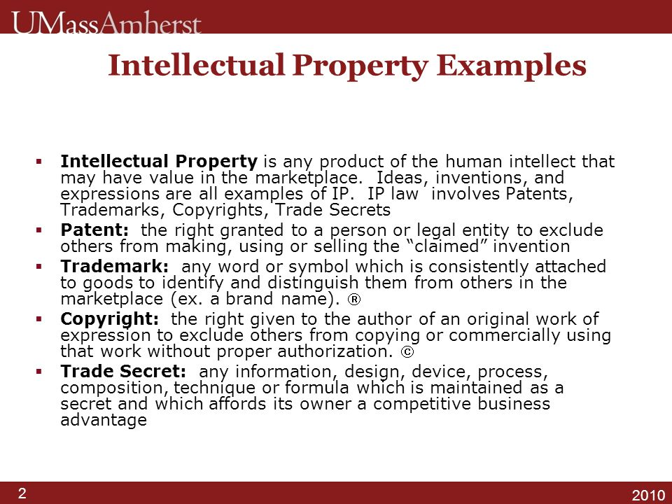 3 2010 General Information Patents and Trademarks …….are granted by the USPTO.