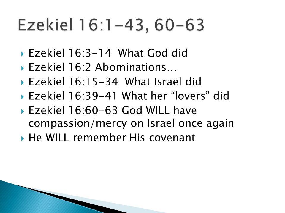 " Ezekiel 16:3-14 What God did  Ezekiel 16:2 Abominations…  Ezekiel 16:15-34 What Israel did  Ezekiel 16:39-41 What her ""lovers"" did  Ezekiel 16:6"