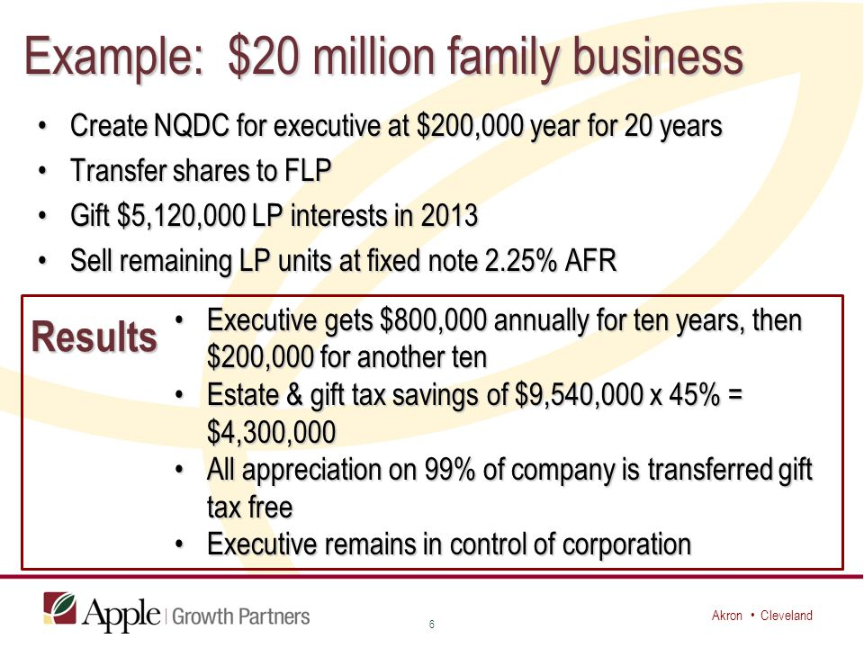 Akron Cleveland Example: $20 million family business Create NQDC for executive at $200,000 year for 20 yearsCreate NQDC for executive at $200,000 year for 20 years Transfer shares to FLPTransfer shares to FLP Gift $5,120,000 LP interests in 2013Gift $5,120,000 LP interests in 2013 Sell remaining LP units at fixed note 2.25% AFRSell remaining LP units at fixed note 2.25% AFR 6 Results Executive gets $800,000 annually for ten years, then $200,000 for another tenExecutive gets $800,000 annually for ten years, then $200,000 for another ten Estate & gift tax savings of $9,540,000 x 45% = $4,300,000Estate & gift tax savings of $9,540,000 x 45% = $4,300,000 All appreciation on 99% of company is transferred gift tax freeAll appreciation on 99% of company is transferred gift tax free Executive remains in control of corporationExecutive remains in control of corporation