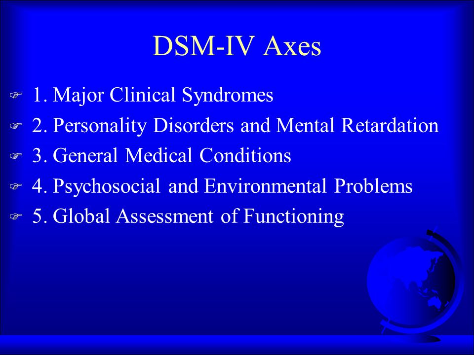 DSM-IV Axes F 1.Major Clinical Syndromes F 2. Personality Disorders and Mental Retardation F 3.