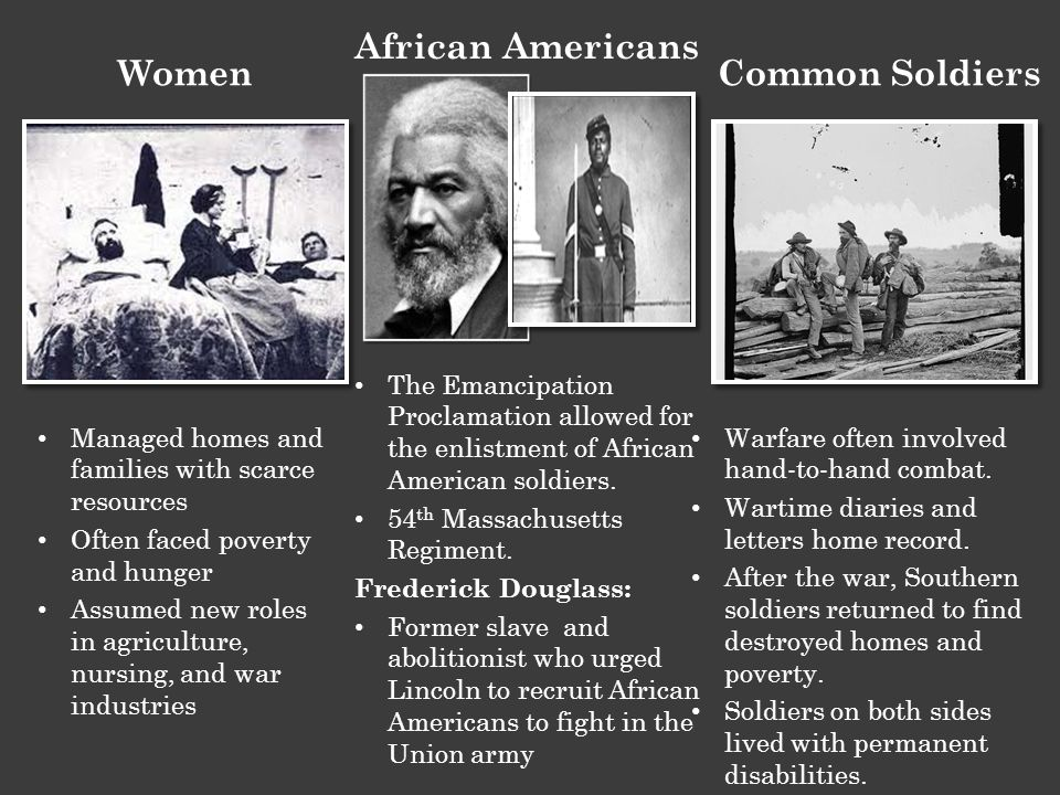 Managed homes and families with scarce resources Often faced poverty and hunger Assumed new roles in agriculture, nursing, and war industries The Emancipation Proclamation allowed for the enlistment of African American soldiers.