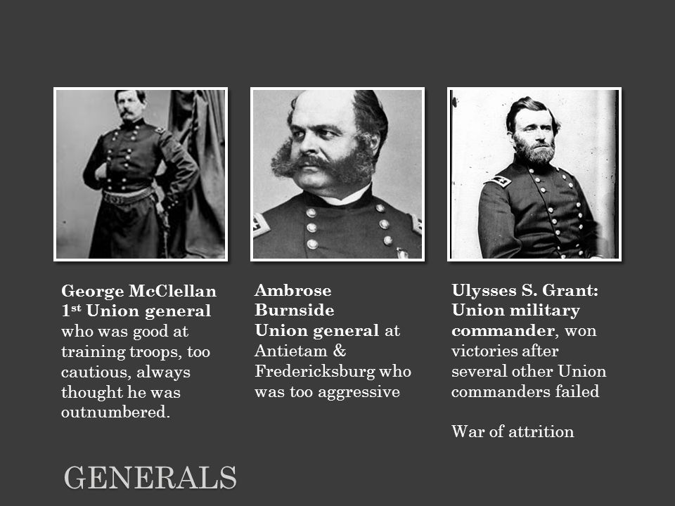 GENERALS George McClellan 1 st Union general who was good at training troops, too cautious, always thought he was outnumbered.