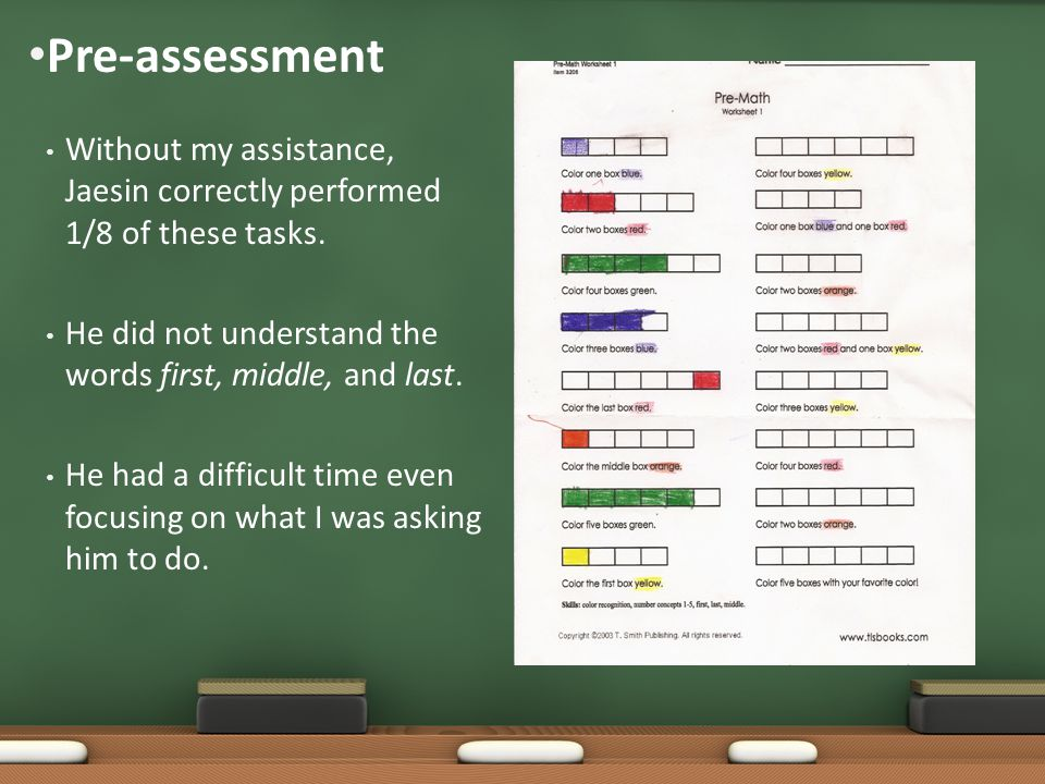 Pre-assessment Without my assistance, Jaesin correctly performed 1/8 of these tasks.