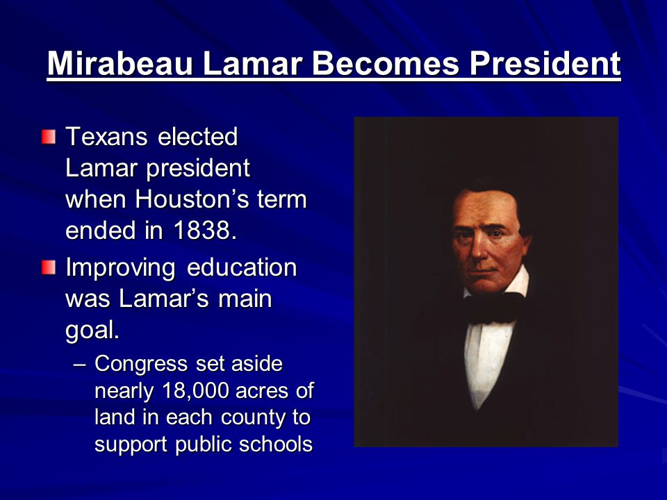 Financial Difficulties Lamar's maintenance of the navy and expeditions were expensive.