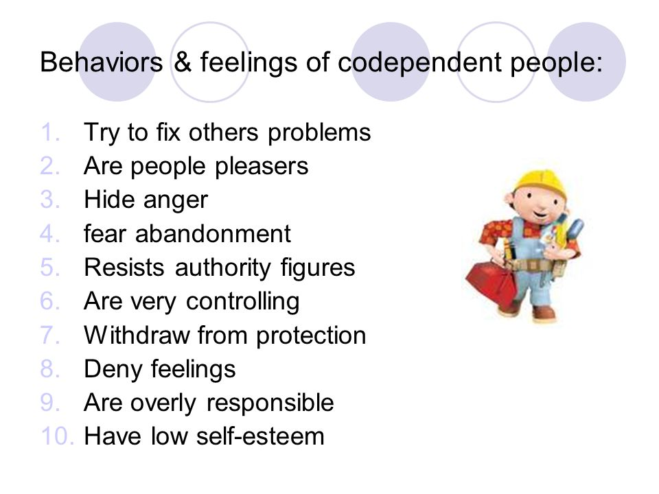 Behaviors & feelings of codependent people: 1.Try to fix others problems 2.Are people pleasers 3.Hide anger 4.fear abandonment 5.Resists authority figures 6.Are very controlling 7.Withdraw from protection 8.Deny feelings 9.Are overly responsible 10.Have low self-esteem