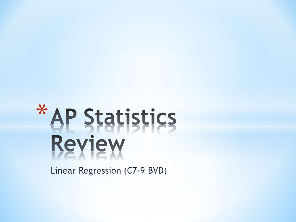 * Explanatory variable goes on x-axis * Response variable goes on y-axis * Don't forget labels and scale * Statplot 1 st option, specify lists, Zoom 9 * Direction: Positive slope or negative slope * Unusual points – outliers, influential points * Shape – straight or curves * Scatter – weak, moderate, strong