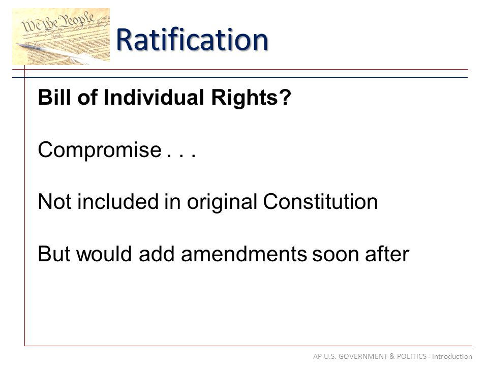 Ratification AP U.S. GOVERNMENT & POLITICS - Introduction Bill of Individual Rights.