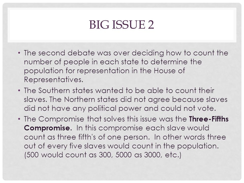 BIG ISSUE 2 The second debate was over deciding how to count the number of people in each state to determine the population for representation in the