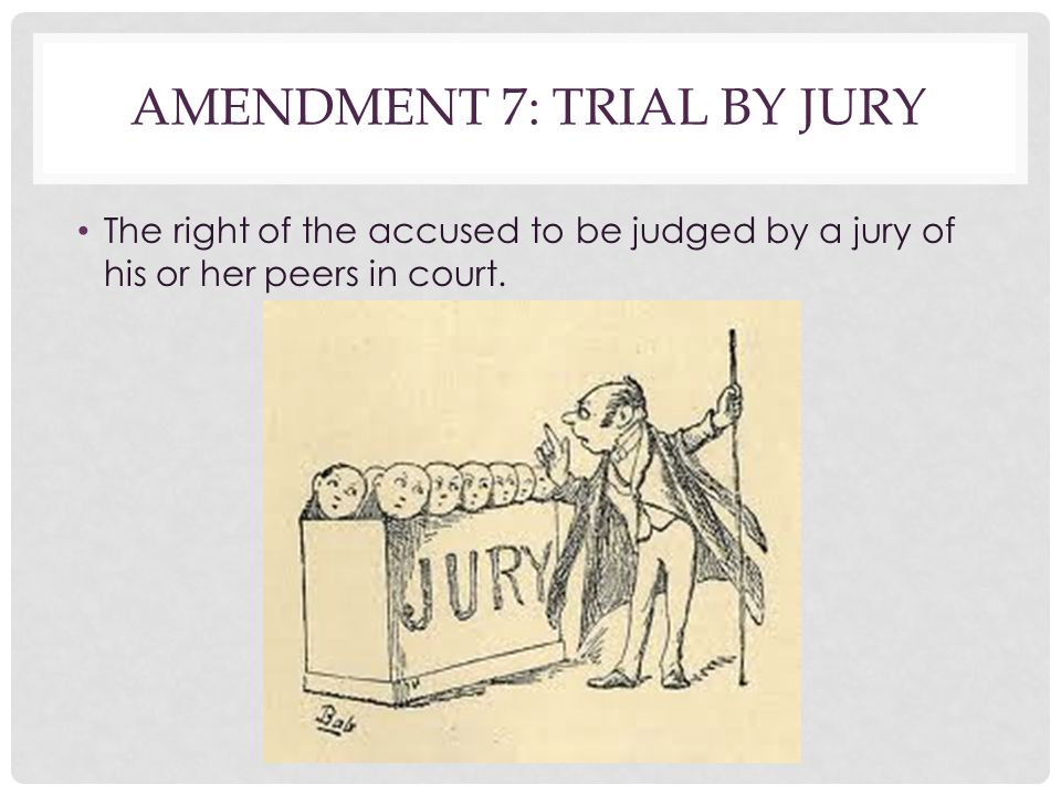 AMENDMENT 7: TRIAL BY JURY The right of the accused to be judged by a jury of his or her peers in court.