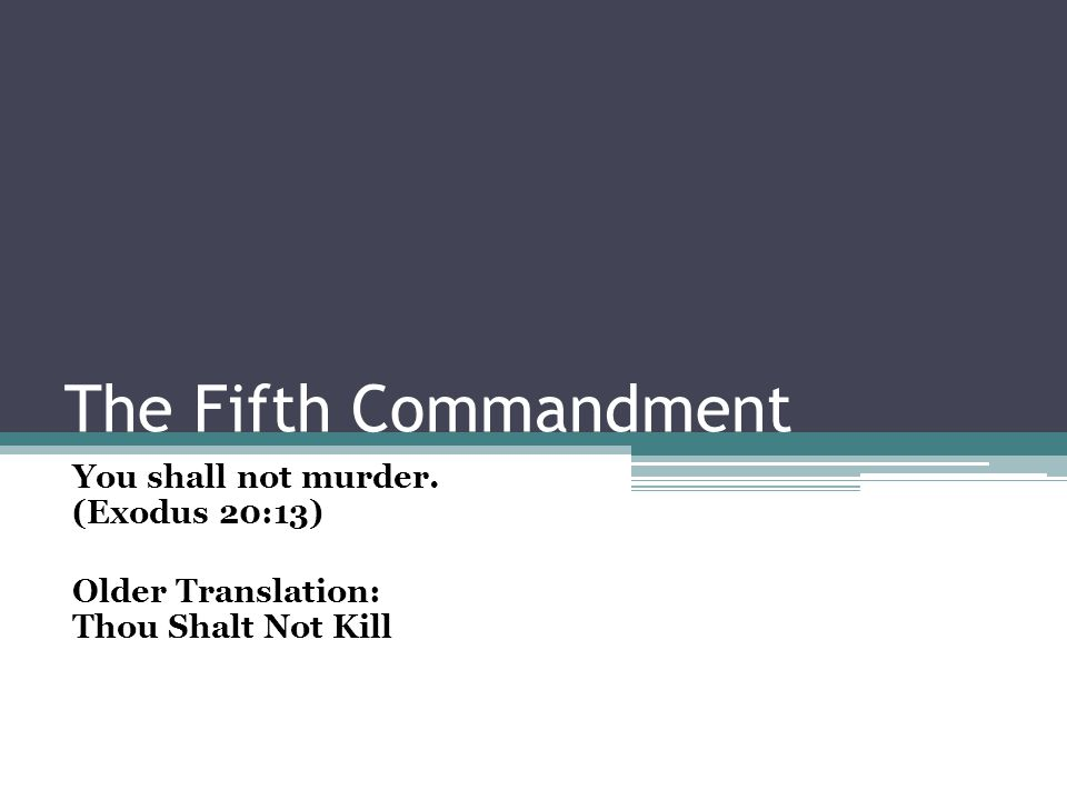 The Fifth Commandment You shall not murder. (Exodus 20:13) Older Translation: Thou Shalt Not Kill