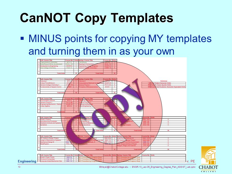 BMayer@ChabotCollege.edu ENGR-10_Lec-05_Engineering_Degree_Plan_ASSIST_Lab.pptx 10 Bruce Mayer, PE Engineering-10: Intro to Engineering CanNOT Copy Templates  MINUS points for copying MY templates and turning them in as your own