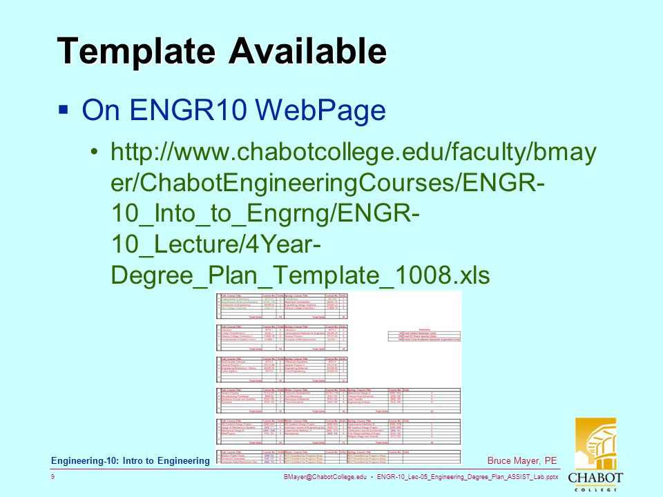 BMayer@ChabotCollege.edu ENGR-10_Lec-05_Engineering_Degree_Plan_ASSIST_Lab.pptx 9 Bruce Mayer, PE Engineering-10: Intro to Engineering Template Availa
