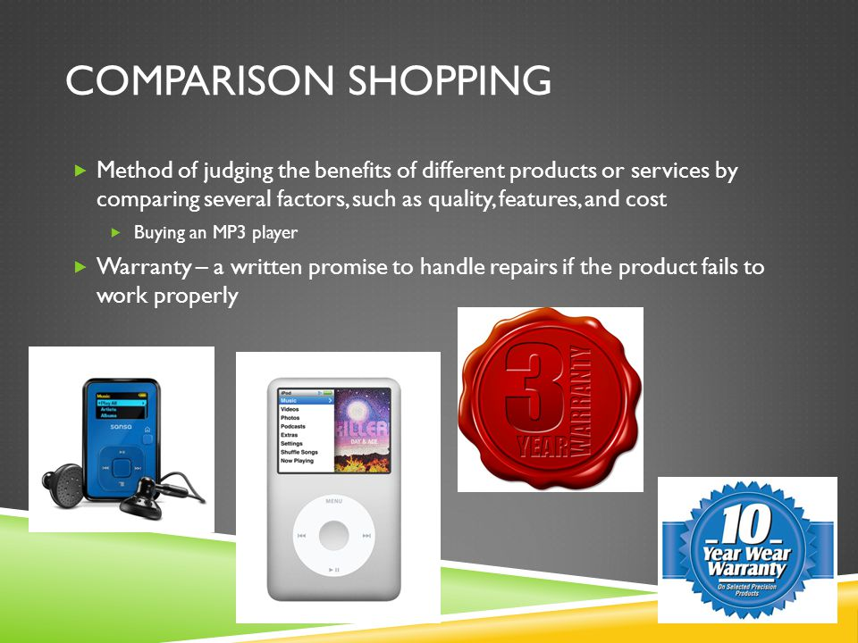COMPARISON SHOPPING  Method of judging the benefits of different products or services by comparing several factors, such as quality, features, and co