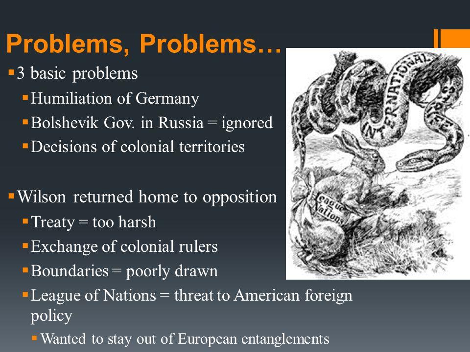 Problems, Problems…  3 basic problems  Humiliation of Germany  Bolshevik Gov.