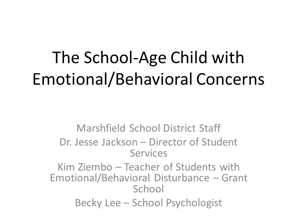 The School-Age Child with Emotional/Behavioral Concerns Marshfield School District Staff Dr.