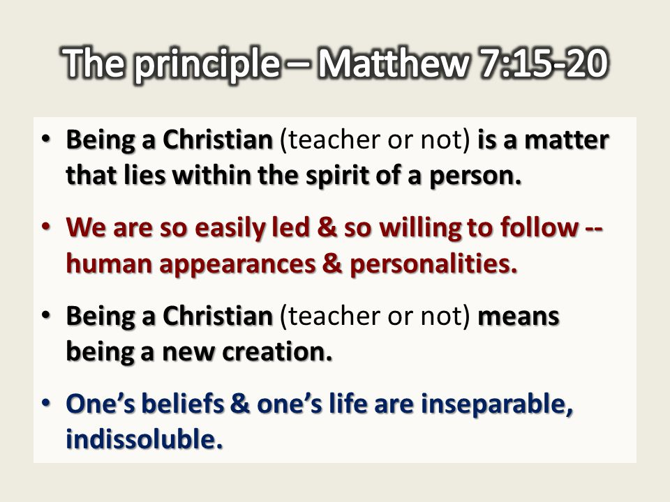 Being a Christian is a matter that lies within the spirit of a person.