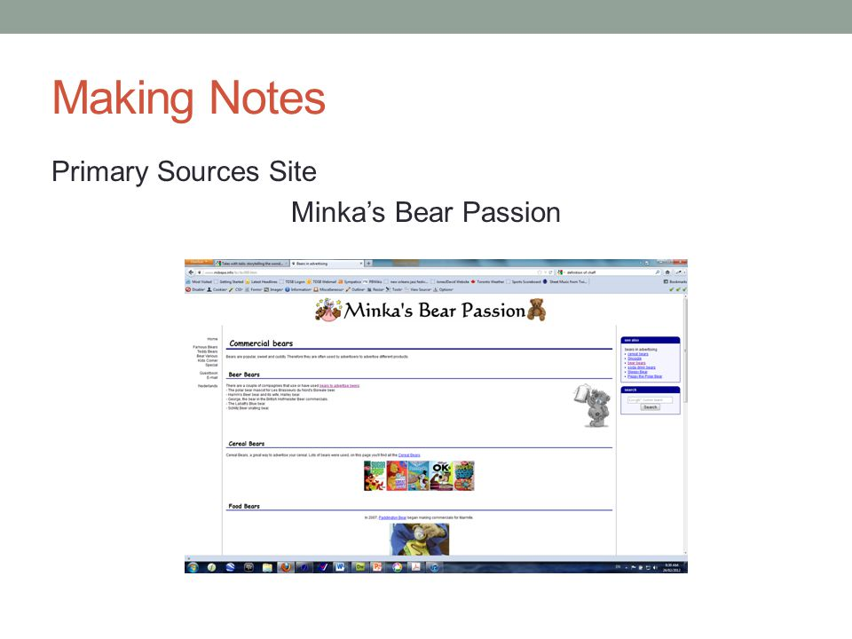 Making Notes Primary Sources Site Minka's Bear Passion
