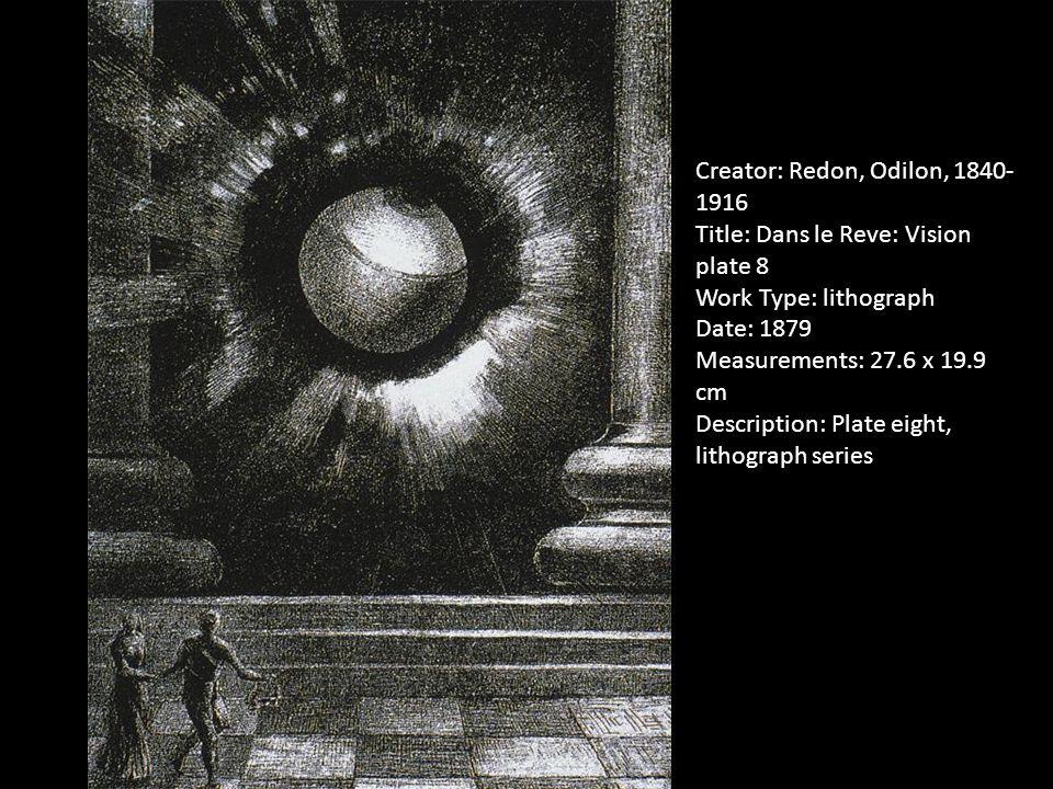 Creator: Redon, Odilon, 1840- 1916 Title: Dans le Reve: Vision plate 8 Work Type: lithograph Date: 1879 Measurements: 27.6 x 19.9 cm Description: Plate eight, lithograph series
