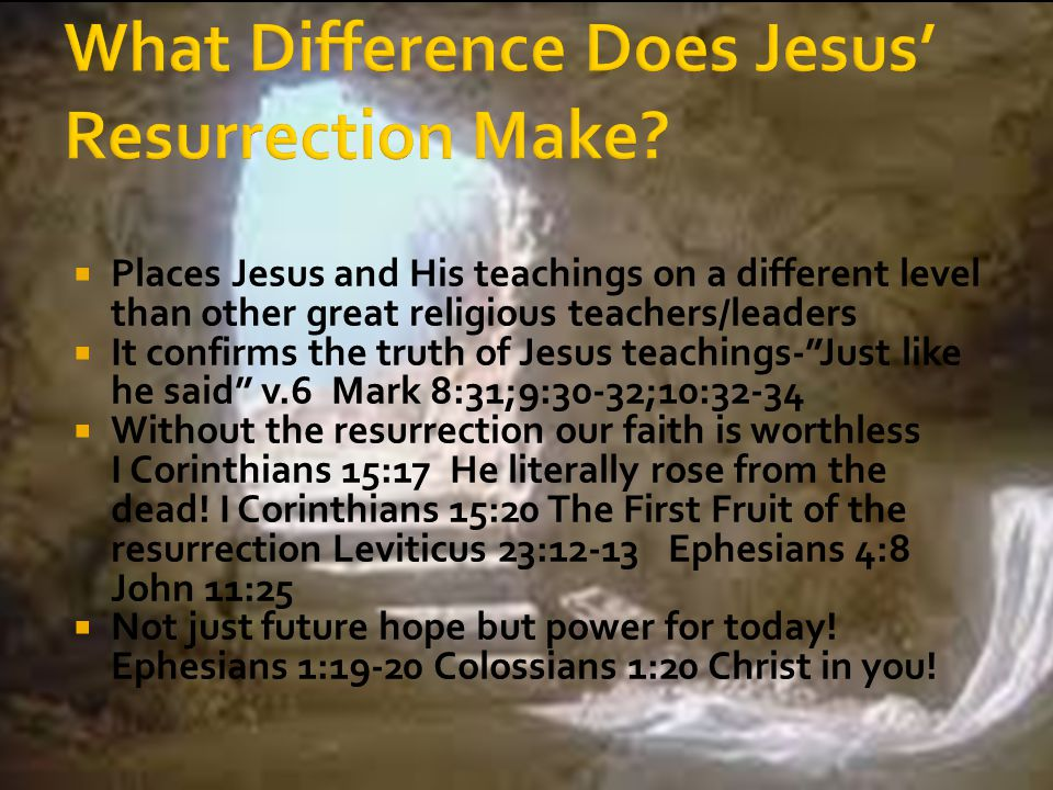 " Places Jesus and His teachings on a different level than other great religious teachers/leaders  It confirms the truth of Jesus teachings-""Just lik"