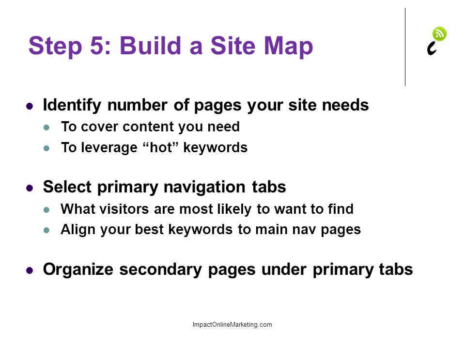 Step 5: Build a Site Map Identify number of pages your site needs To cover content you need To leverage hot keywords Select primary navigation tabs What visitors are most likely to want to find Align your best keywords to main nav pages Organize secondary pages under primary tabs ImpactOnlineMarketing.com