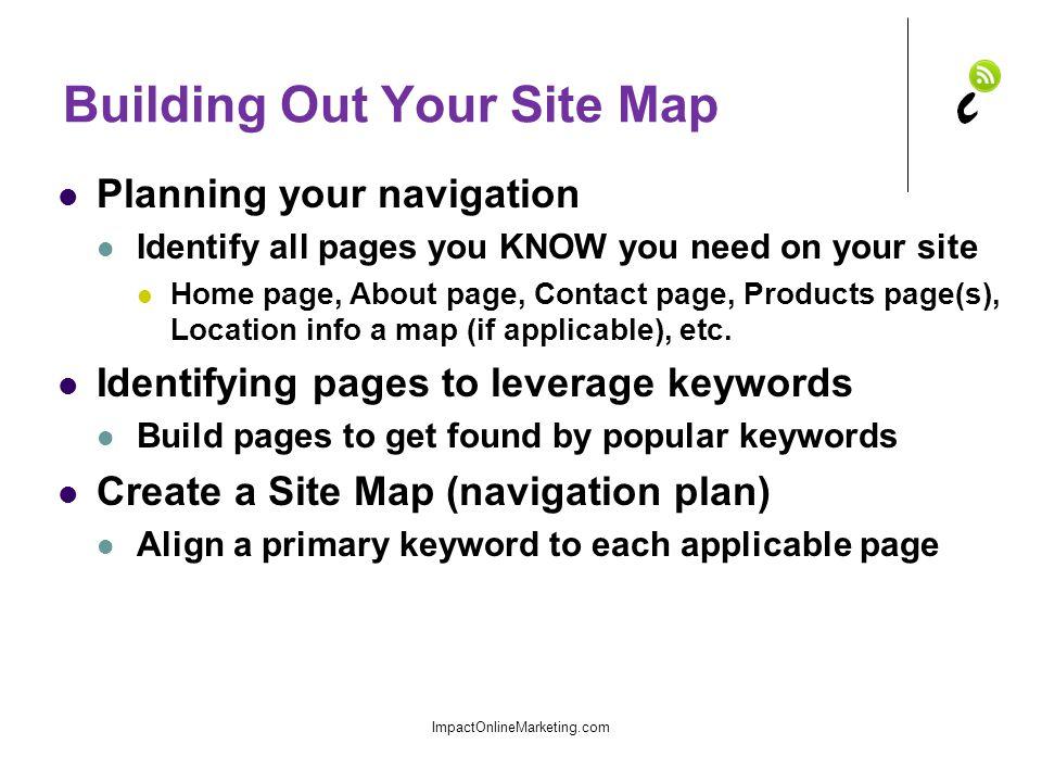 Site Map Example ImpactOnlineMarketing.com