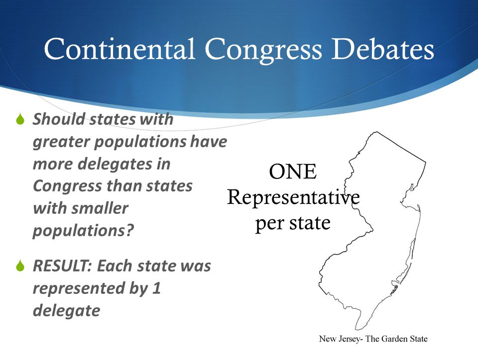 Continental Congress Debates  Should states with greater populations have more delegates in Congress than states with smaller populations.