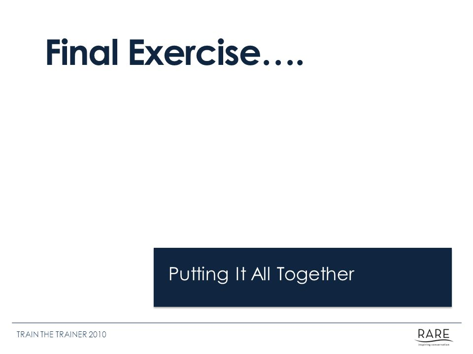 Putting It All Together Final Exercise…. TRAIN THE TRAINER 2010